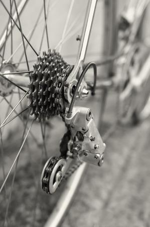 sprocket: Vista di dettaglio di biciclette della ruota posteriore con catena e pignone
