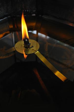 Detail of Burning Candle Stock Photo
