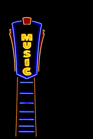 vividly: this is a vividly lit neon sign against a black sky depicting music related business