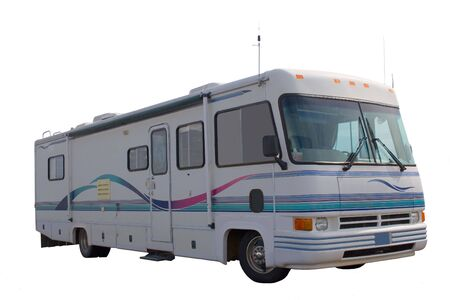 A classic older motorhome on a white isolated background Stock Photo