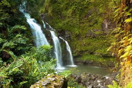 Three-tiered Hawaiian waterfall Reklamní fotografie