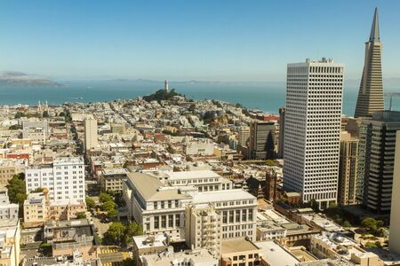 San Francisco skyline as seen from rooftop perspective in downtown.