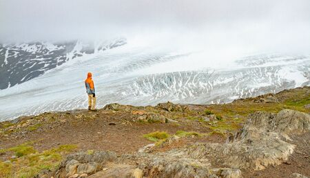 A man in an orange jacket is gazing out over Exit Glacier in Alaska, USA. Man is standing on green grass covered hill overlooking glacier from the Harding Icefield Trail.