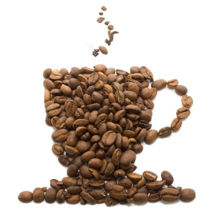 Coffee cup made of cofee beans Stock Photo