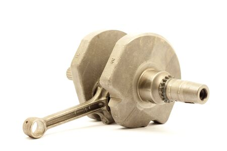 greasing: This is a crank shaft on a white back ground Stock Photo