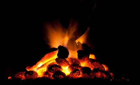 outdoor fireplace: Fire and coal