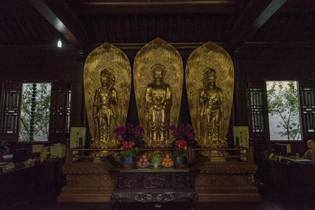 Statues of Buddha in a Shanghai temple