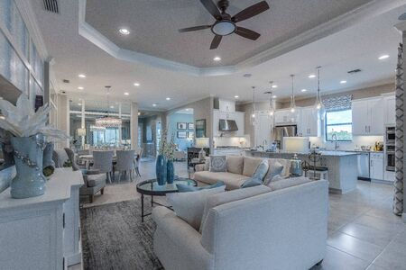 Great room, dining room and kitchen open floorplan