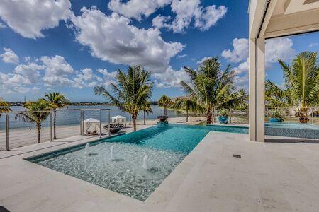 Poolside of million dollar Florida coastal home