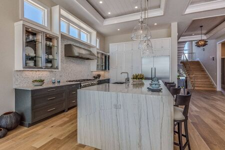 Large spacious contemporary kitchen of Florida home