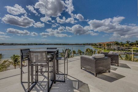 Patio deck of million dollar Florida property looking out over the Gulf of Mexico