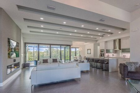 Large white Florida home with open floorplan
