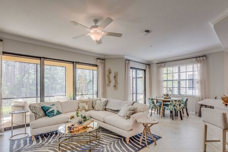 Light bright living room with a safari feel