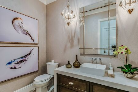 Glamorous yet simple guest bathroom