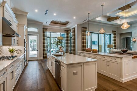 Amazingly huge kitchen area with two islands