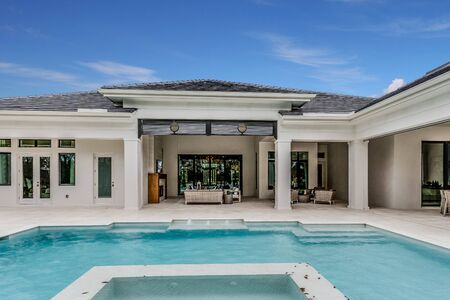 Luxurious swimming pool and entertaining area of a Florida home