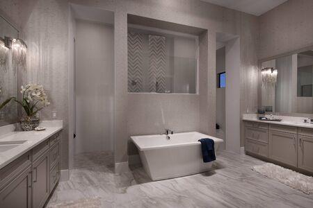 Freestanding bathtub with a walk-through shower behind it