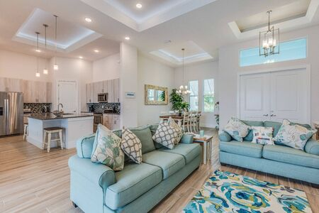 Beautiful home with an high ceilings and an open floor plan Stock Photo