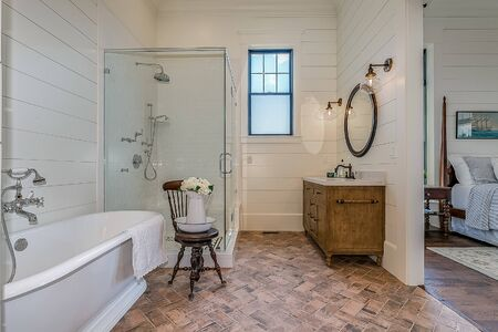 Rustic feel to this newly built and luxurious master bathroom
