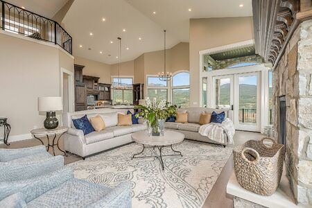 Sitting area in great room looking out to mountain views