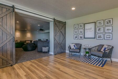 Barn doors giving entrance to large movie theater room