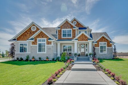 Front exterior of magnificent home with perfect front walkway