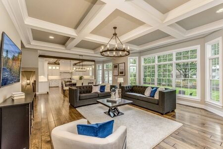 Great room with 10 foot coffered ceilings and lots of windows