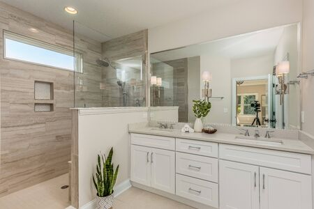 beautiful bathroom with white cabinets and doorless shower