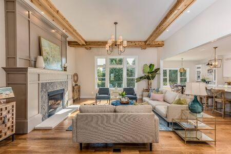 Open family room with coffered ceiling that enhances the trim detail