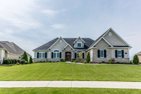 Large luxurious newly built home with spacious front yard