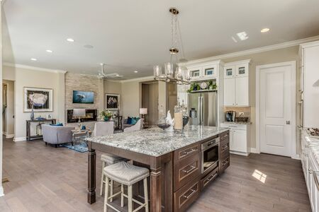 Fabulous kitchen with angled island, pantry and pocket office