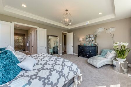 Gorgeous master bedroom decorated with fancy furnishings Stock Photo