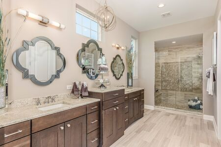 Beautiful shower in bathroom with lots of detail
