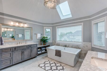 Glorious master suite with large freestanding tub and skylight window