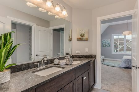 Beautiful bathroom with counterspace and lovely decor