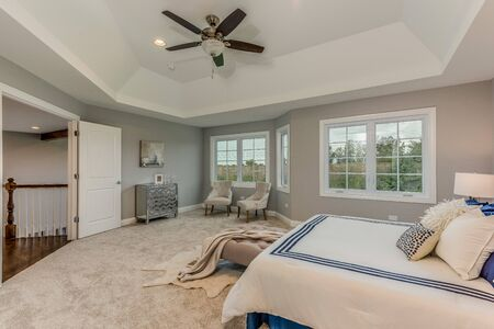 Spectacular master bedroom with tray ceiling and lots of space to unwind Stockfoto