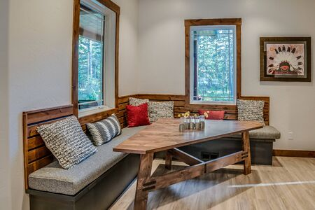 Very comfortable dining nook with diner style seating