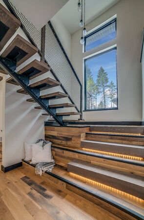 Open stairway in a rustic modern home