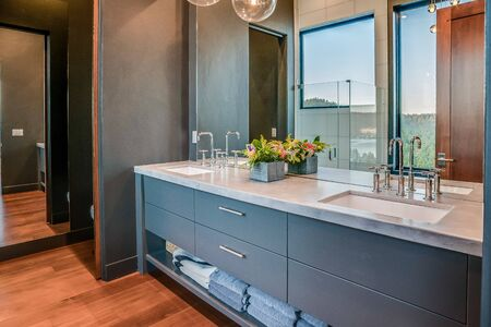 Upscale modern bathroom in newly built home