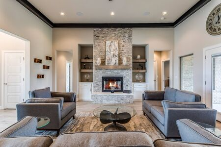 Stunning great family room with mid-century modern feel
