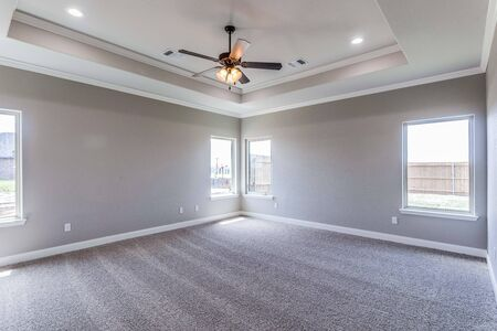 Empty bedroom with decorative tray ceiling
