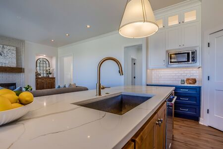 Magnificent kitchen island with pull down faucet