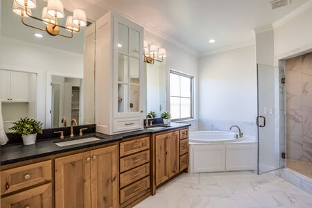 Magnificent garden tub and double vanity in newly built master suite