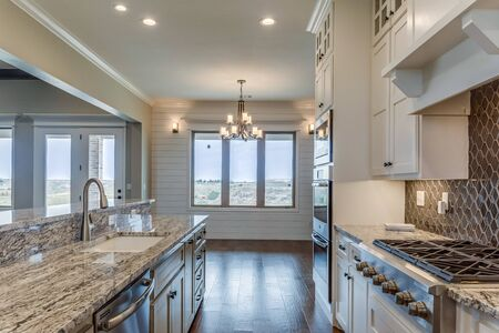 Beautiful galley area of kitchen in newly built home