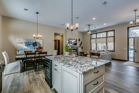Kitchen galley with black and white decorative countertops