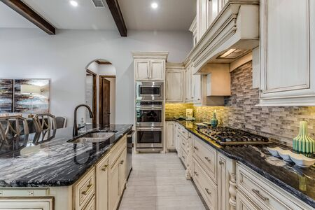 Lovely kitchen galley area with luxurious amenities