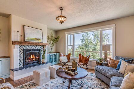 Cozy living room in modern farmhouse