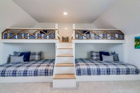 Double built in bunk beds with cove style vaulted ceiling