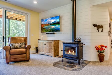 Wood burning stove in family room to keep you warm and cozy