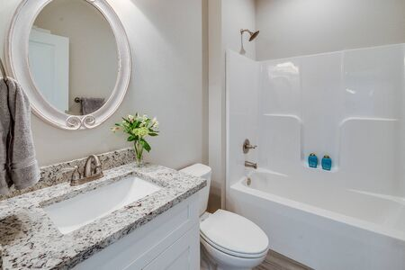 Large soaking tub and shower in romantic spa-like master suite
